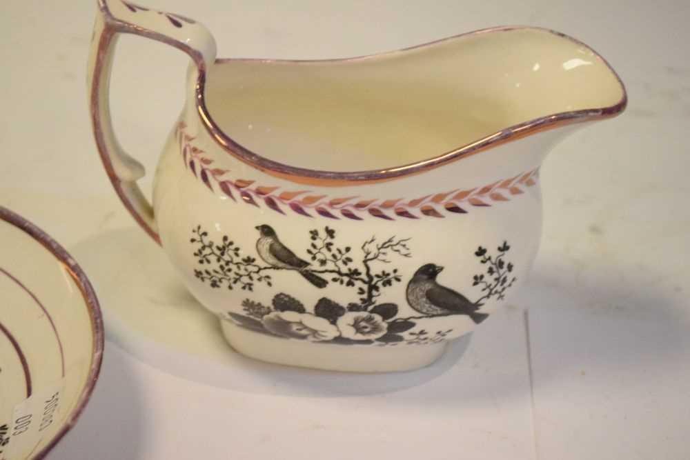 Puce lustre bat printed tea wares - Image 10 of 12