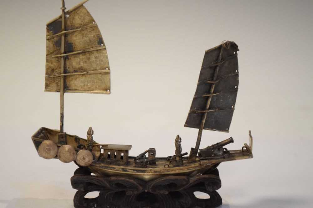 Two Chinese white metal models of junks, - Image 5 of 6
