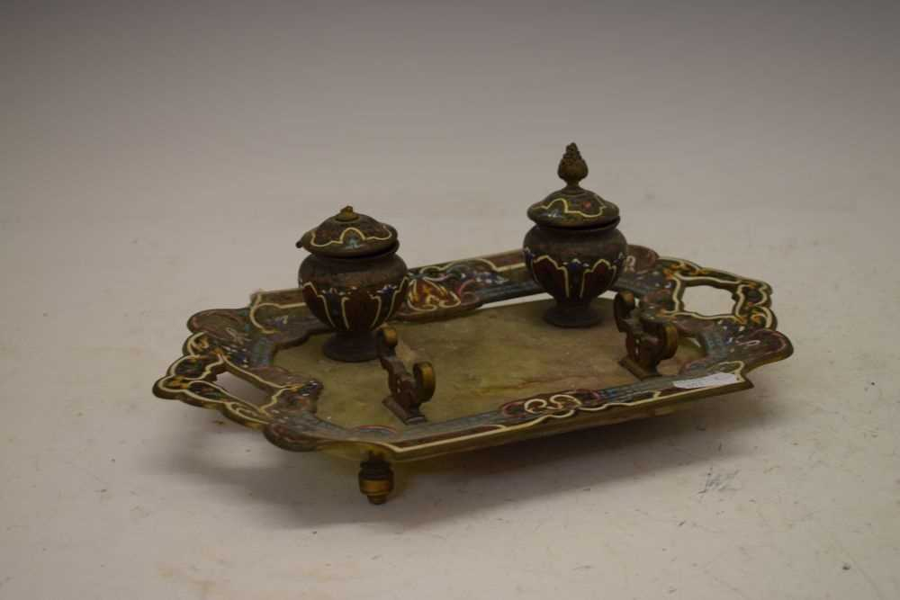 Green onyx and champleve enamel inkstand