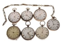 Seven silver pocket watches