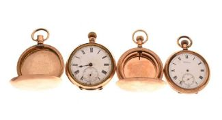 Two gold-plated open face pocket watches and two cases