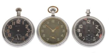 Three Military black dial pocket watches