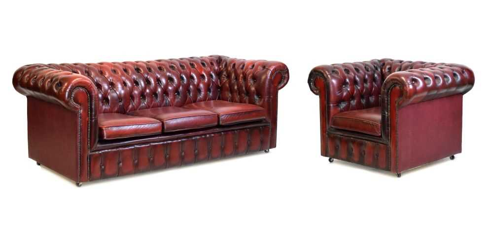 Chesterfield three-seater settee and armchair
