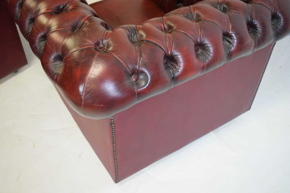 Chesterfield three-seater settee and armchair - Image 6 of 8