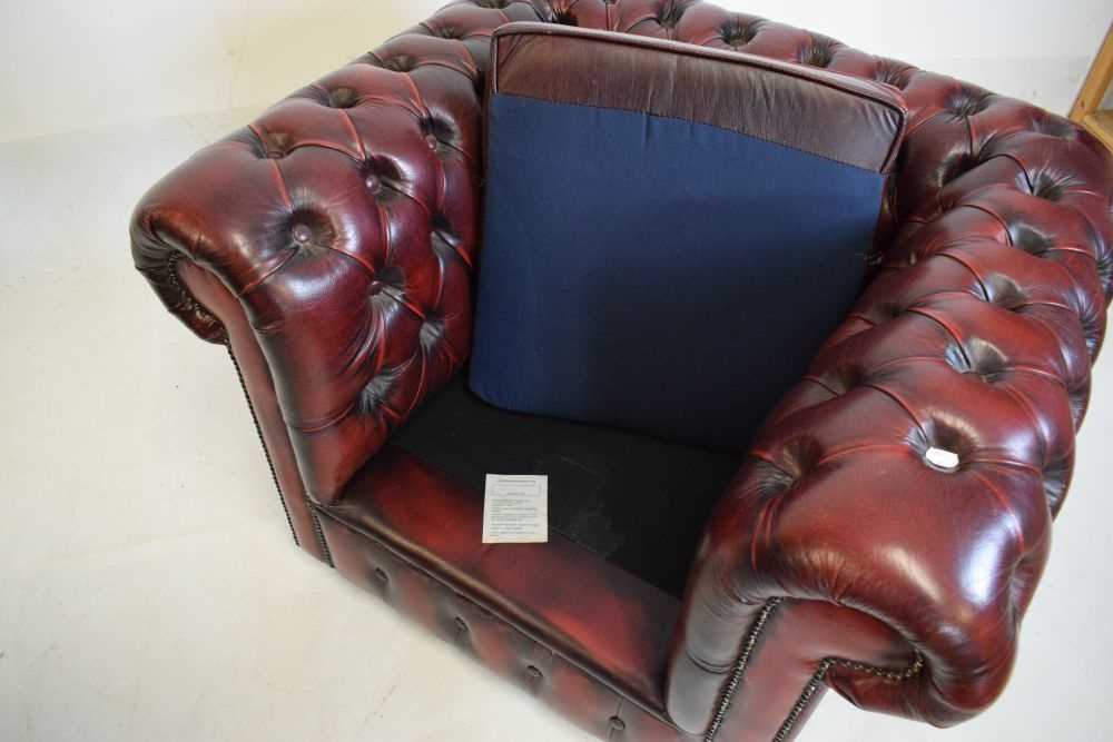 Chesterfield three-seater settee and armchair - Image 5 of 8