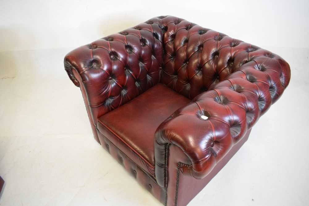 Chesterfield three-seater settee and armchair - Image 4 of 8