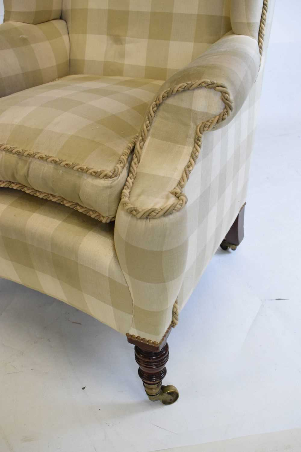 Attributed to Howard & Sons - Late 19th or early 20th Century wing armchair - Image 4 of 10