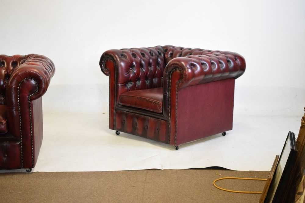 Chesterfield three-seater settee and armchair - Image 3 of 8