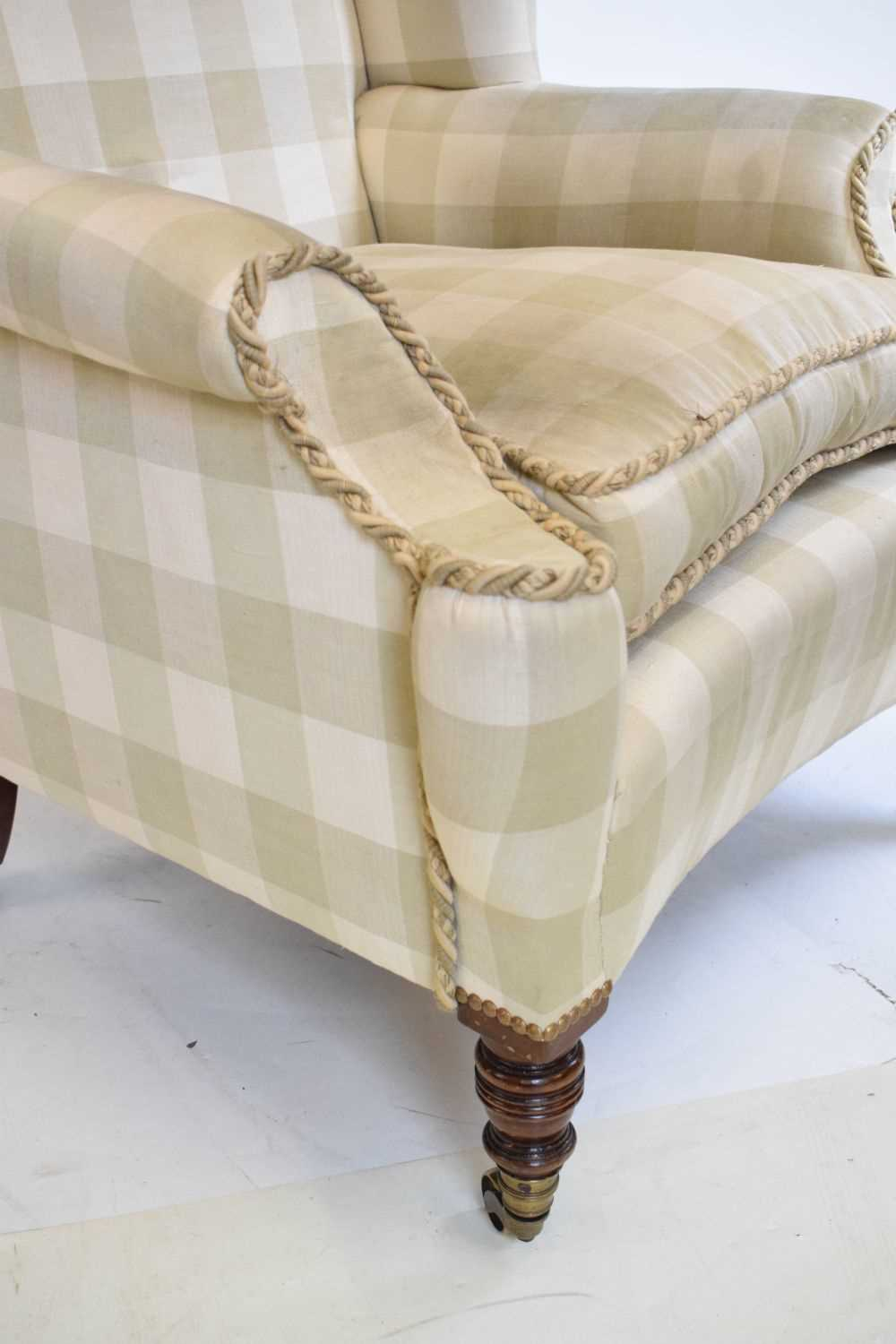 Attributed to Howard & Sons - Late 19th or early 20th Century wing armchair - Image 3 of 10
