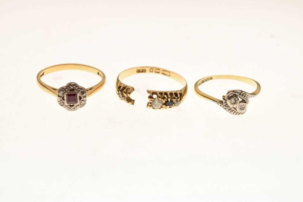 Three 18ct gold diamond and gem set dress rings - Image 2 of 4