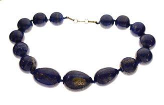 Necklace set lapis-coloured hardstones