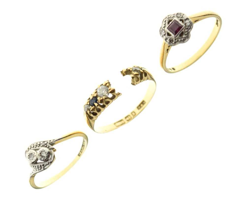 Three 18ct gold diamond and gem set dress rings