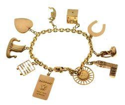 Belcher link charm bracelet stamped '750'