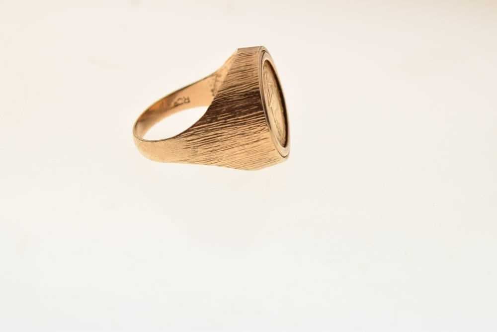 9ct gold ring inset with 1/10th Krugerrand coin - Image 5 of 6
