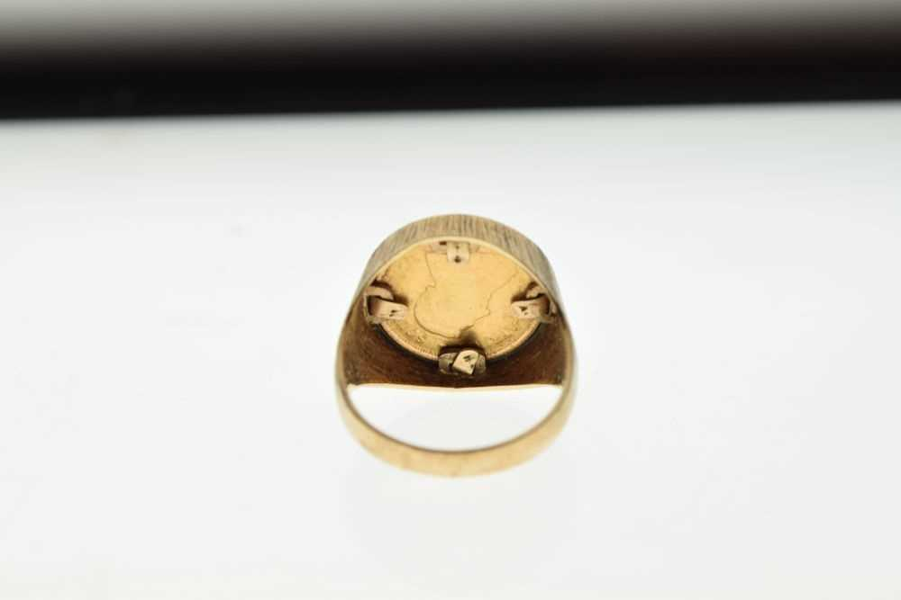 9ct gold ring inset with 1/10th Krugerrand coin - Image 4 of 6