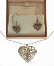 Clogau Welsh silver and 9ct gold fairy locket and chain & earrings
