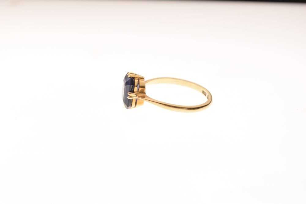 '18ct' yellow metal and synthetic sapphire ring, - Image 2 of 5