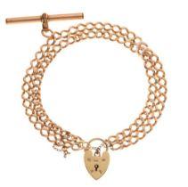 9ct gold double curb-link bracelet