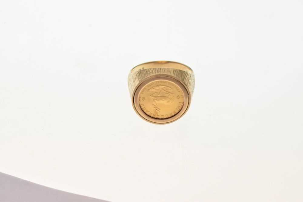 9ct gold ring inset with 1/10th Krugerrand coin - Image 2 of 6