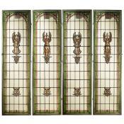 Four artistic glass windows France, 19th-20th century 189x52 cm. each