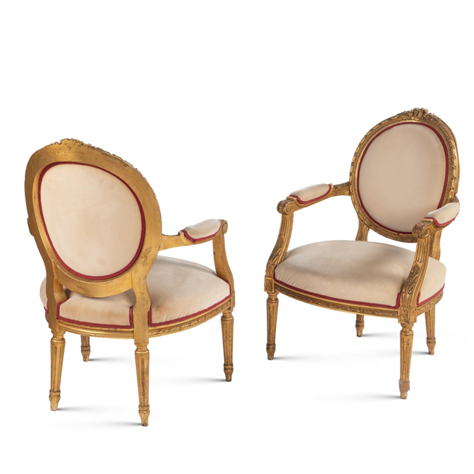 Pair of gilt wood armchairs France, 19th-20th century 83x63x56 cm.