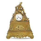 Gilt metal mantel clock France, 19th- 20th century 44x32,5x12 cm.