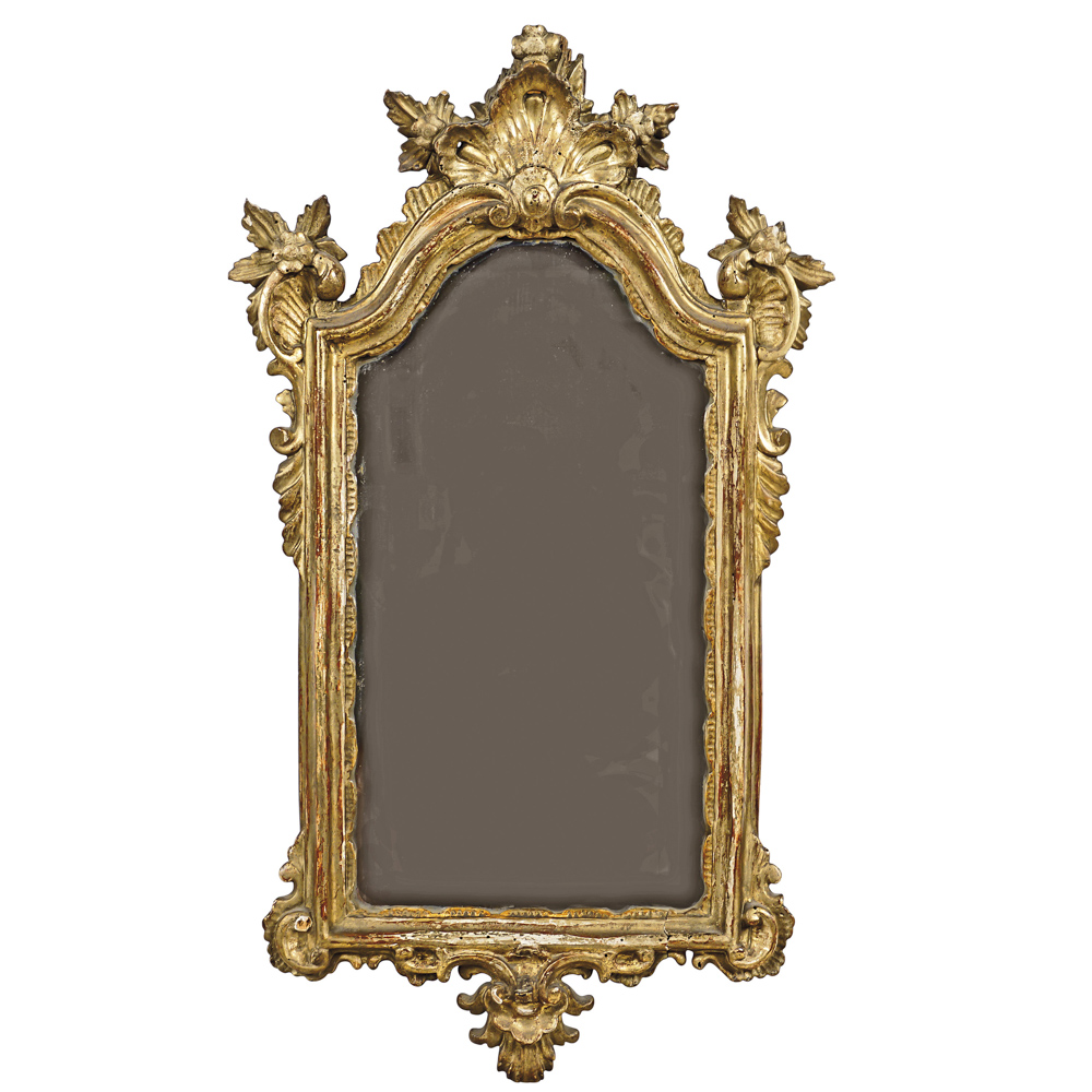 Gilt wood wall mirror Italy, 18th century 64x37 cm.