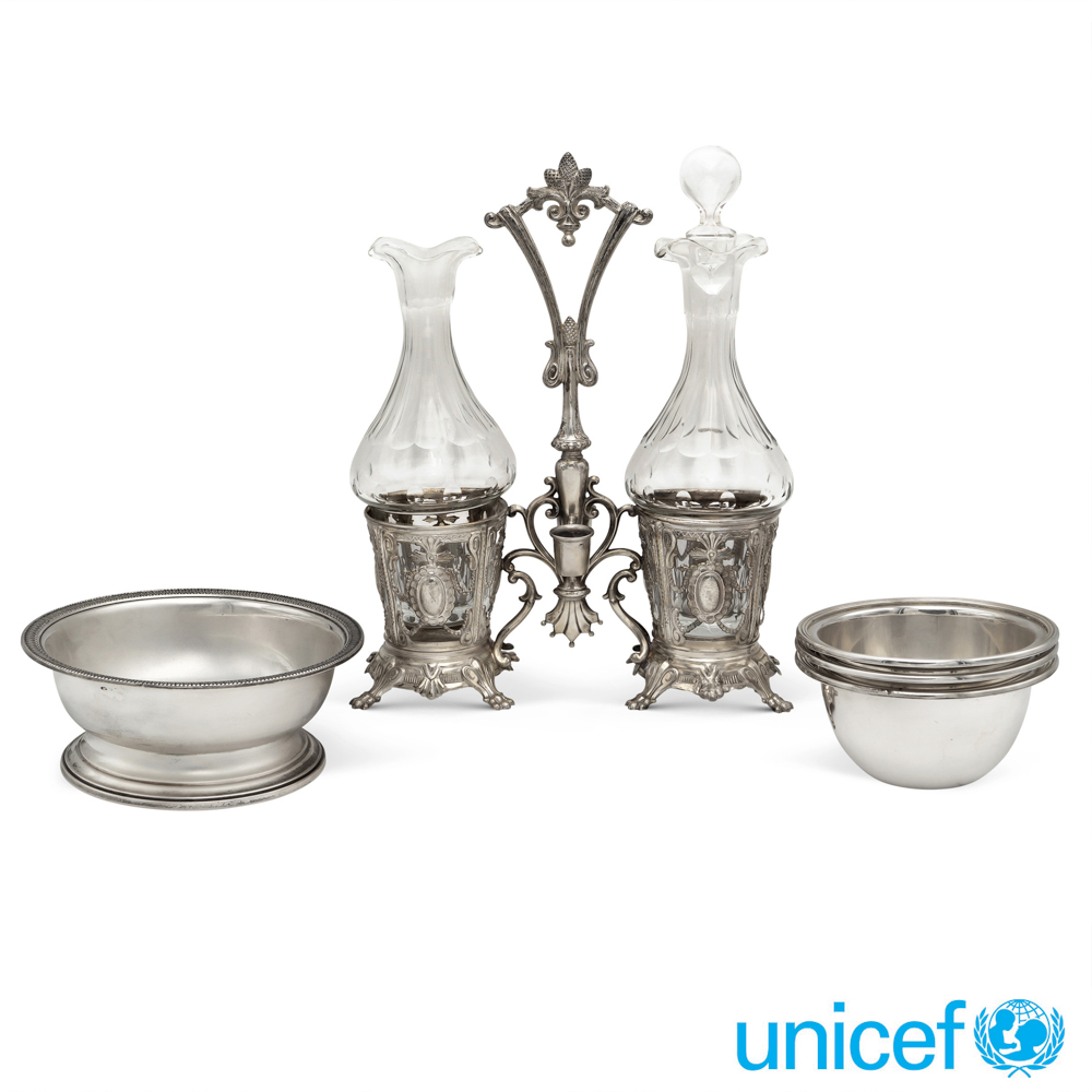 Group of silver objects (5) Italy, 19th-20th century gros weight 787 gr.