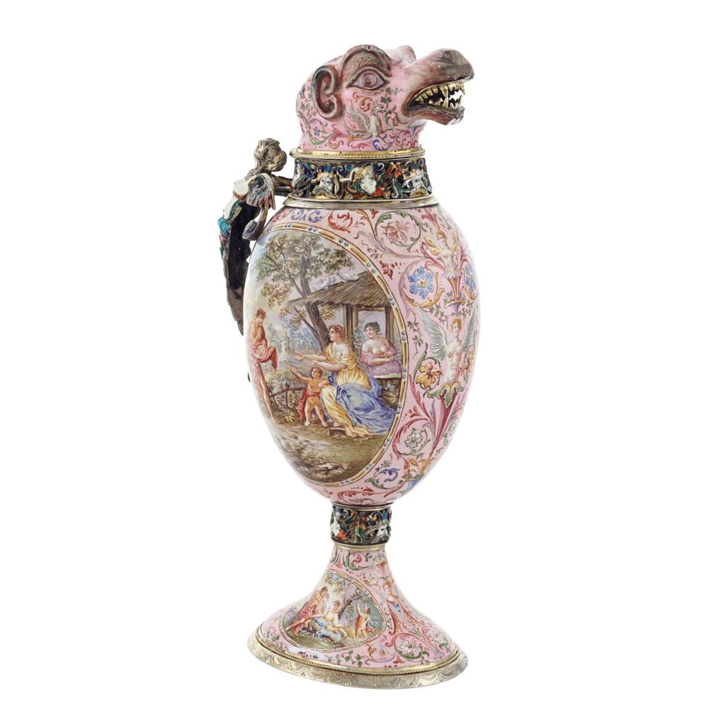 Silver vermeil and polychrome enamels jug Vienna, late 19th century - Image 2 of 3