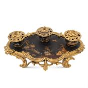 Gilt bronze and lacquered wood inkwell France, 19th century 9x33x20 cm.