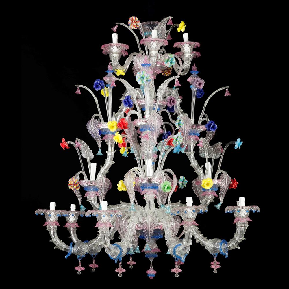 Rezzonico 20-lights chandelier Murano, 20th century 175x140 cm.