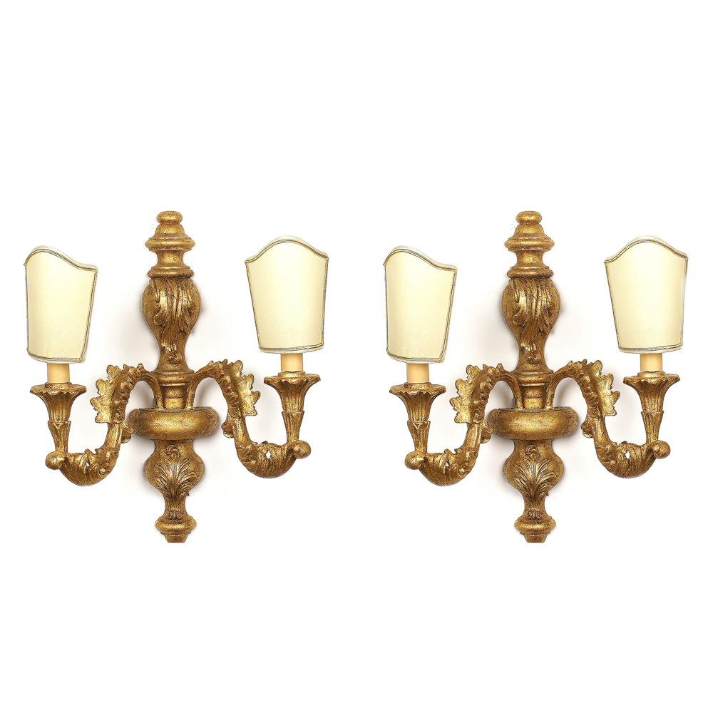 Pair of 2 lights gilt wood appliques Italy, 20th century 46x40 cm.