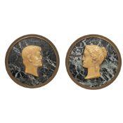 Pair of circular marble plaques Rome, 19th century diam. 17,5 cm