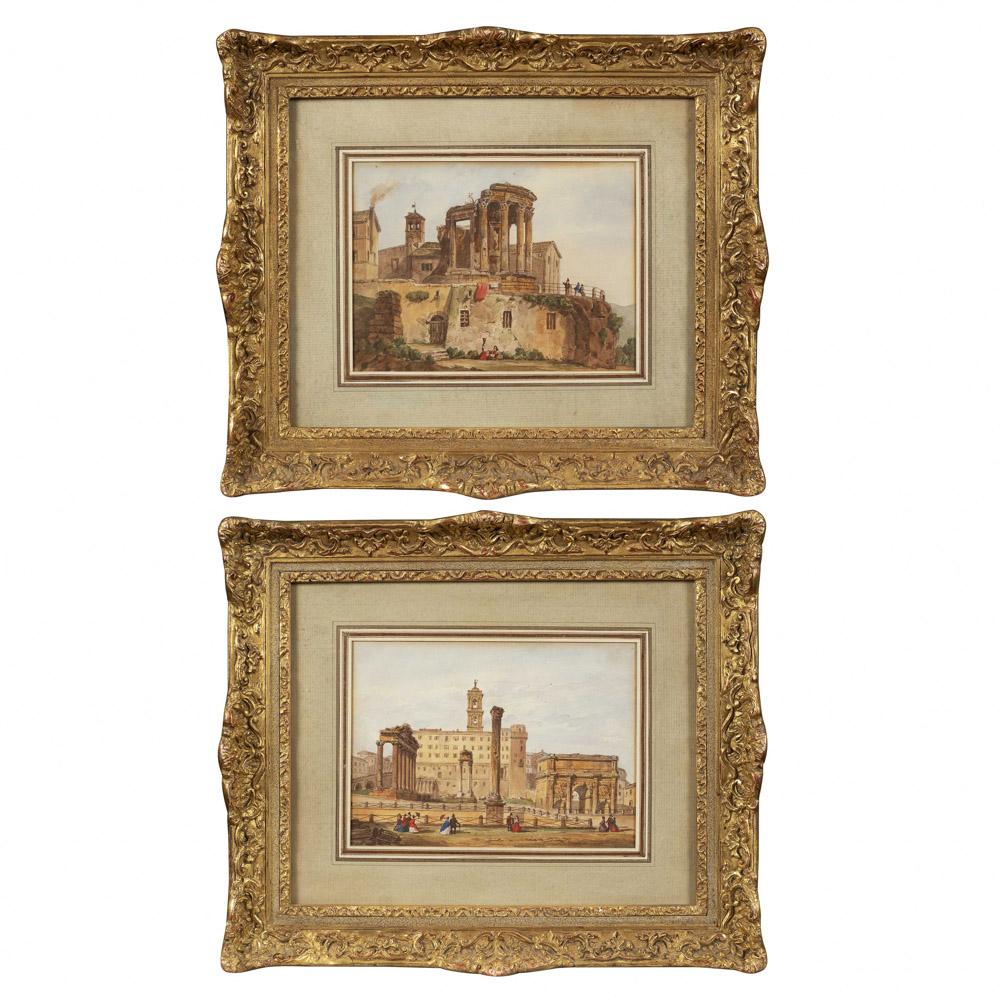 Franz Knebel, attributed La Sarraz 1809 - Roma 1877 12x17 cm.