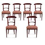 Six tainted mahogany chairs France, 19th-20th century 90x48x42,5 cm.