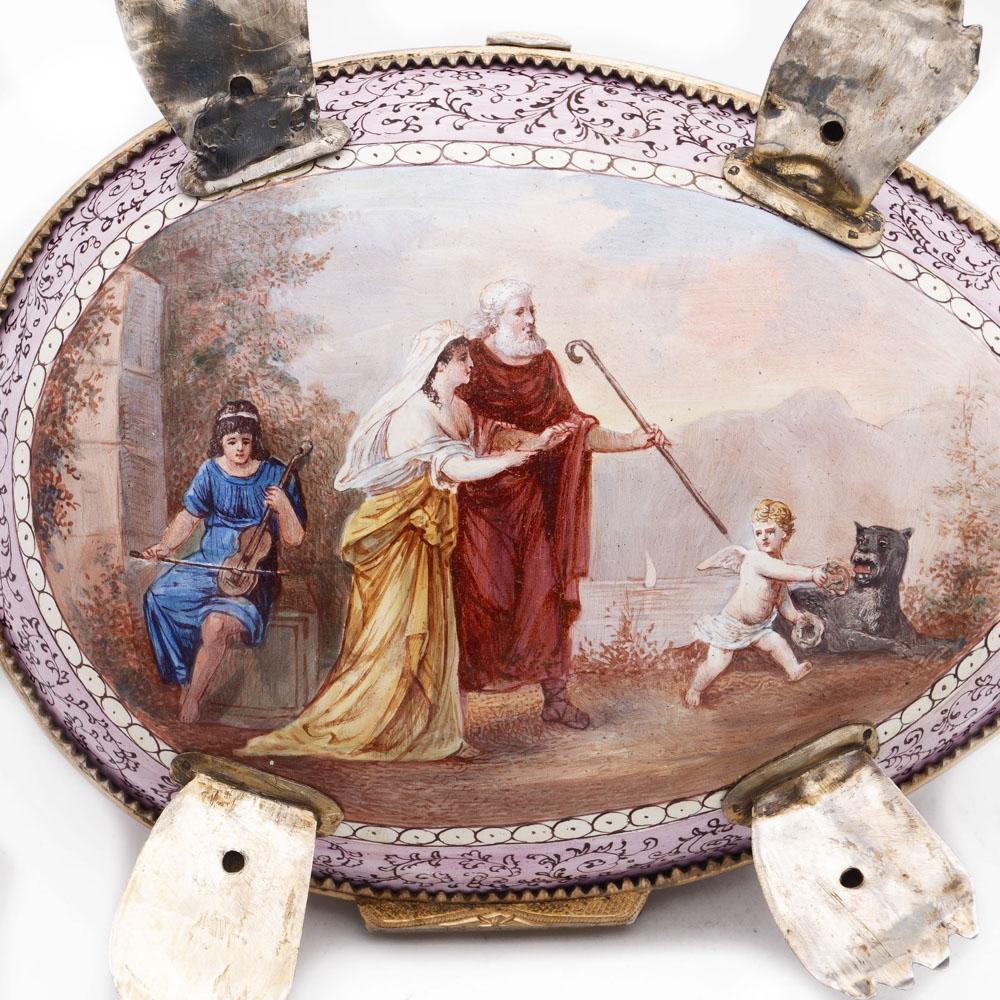 Gilt silver and polychrome enamelbox Vienna, 19th century 10x20x13 cm. - Image 5 of 5