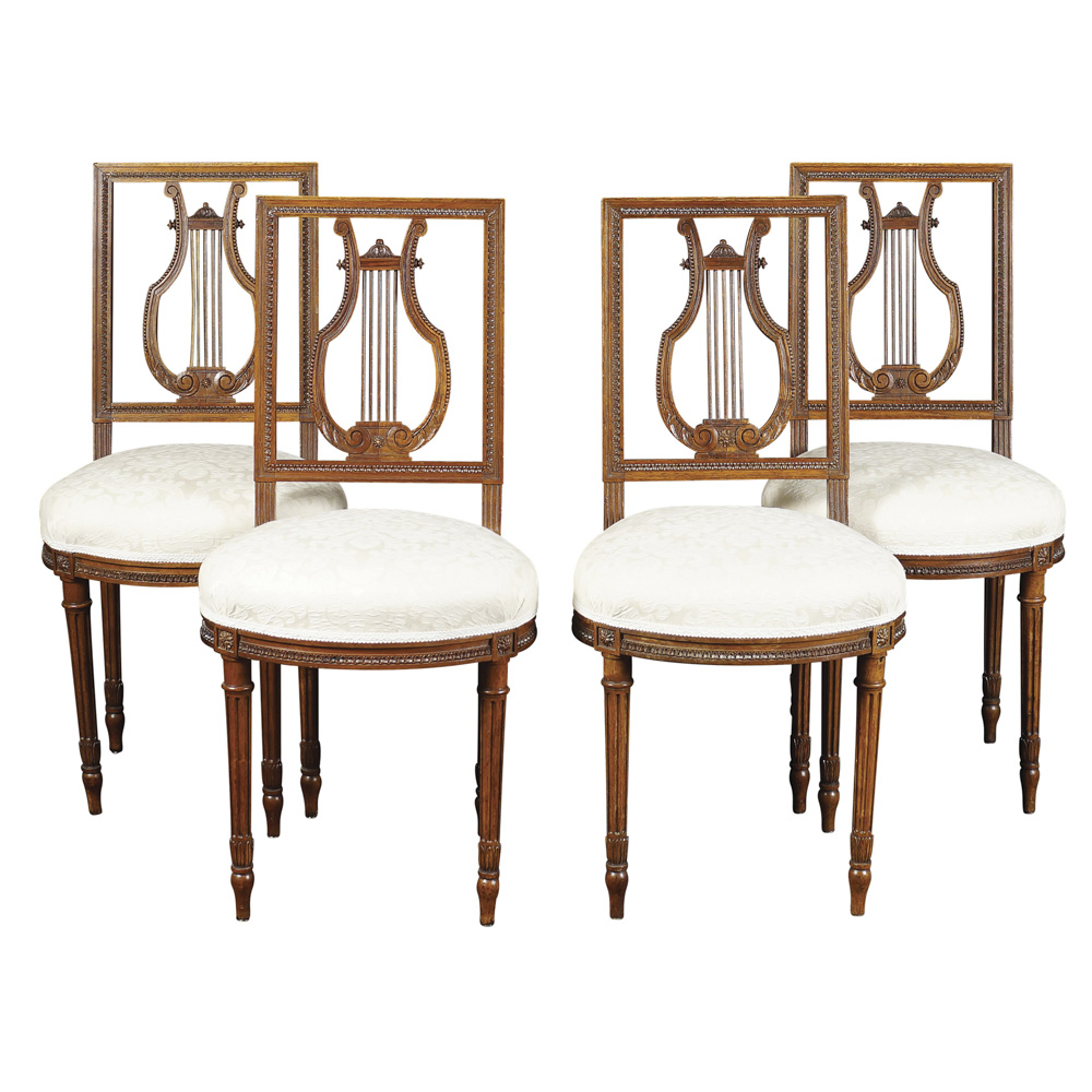 Four walnut chairs France, early 20th century