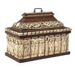 Wood and bone nuptial box Italy, 19th century 26x33x18 cm
