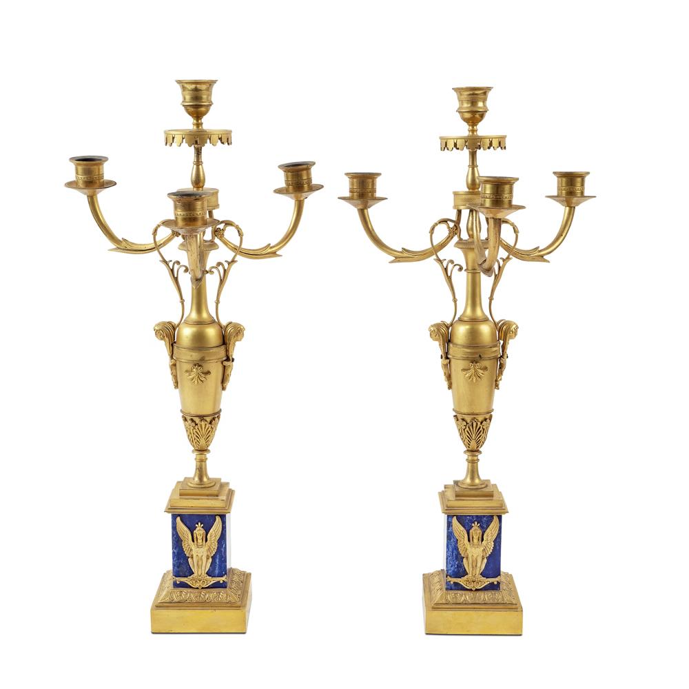 Pair of 4 lights gilt bronze and lapis lazuli candelabra France, 19th century 50x25 cm.