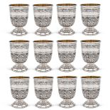 Twelve silver glasses Italy, 20th century weight 2149 gr.