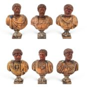 Collection of polychrome marbles busts (6) 19th-20th century max. h 19 cm.