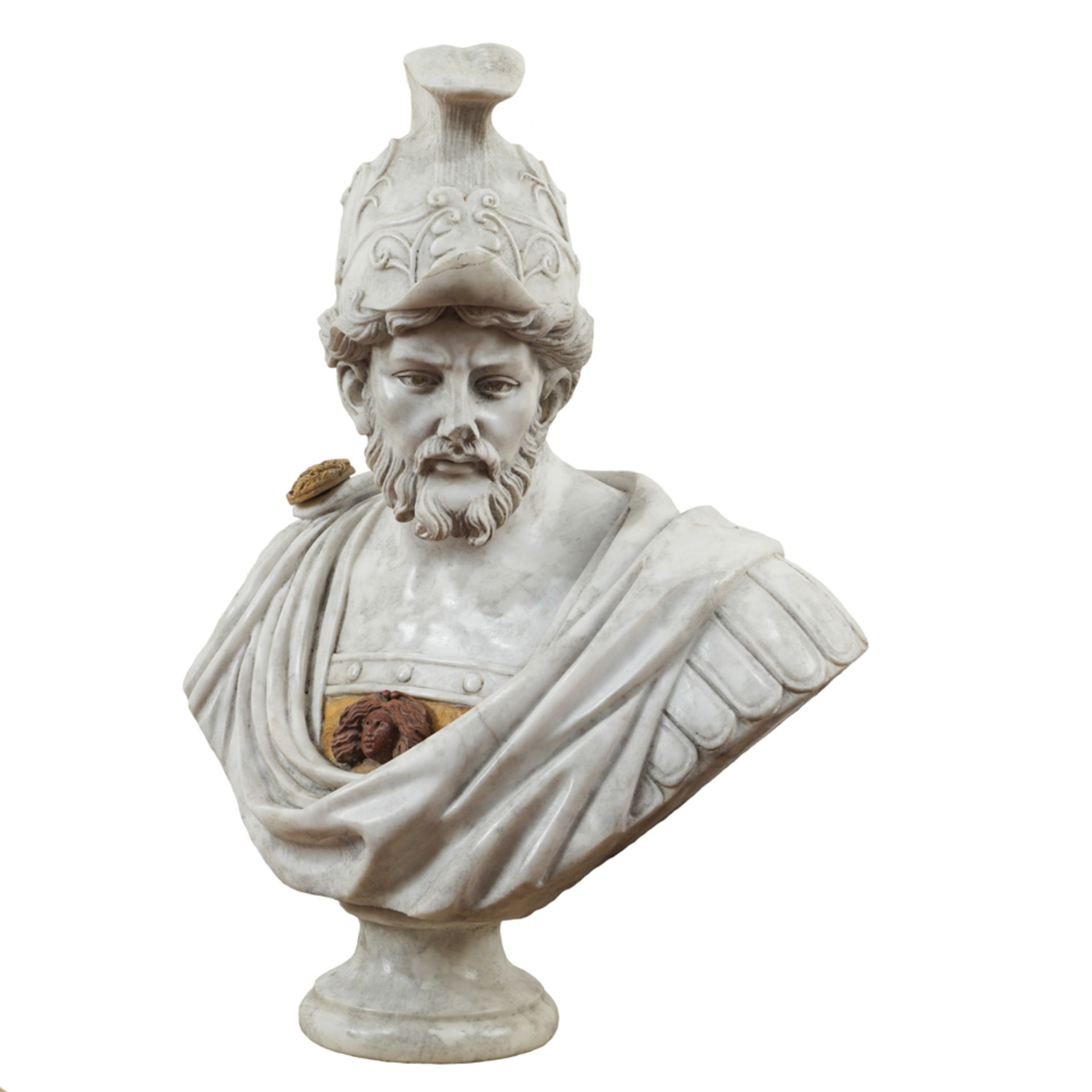 White, red and Yellow Siena marble bust 20th century 82x62x36 cm. - Image 2 of 3
