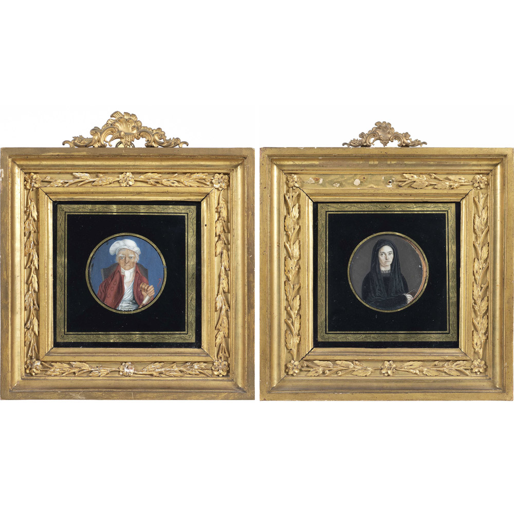 Pair of miniatures Italy, 18th-19th century d. 6 cm.