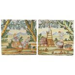 Two majolica tiles painted in polychrome Castelli, XVIII Sec. 50x50 cm. each