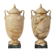 Pair of yellow Siena marble vases 20th century 65x30x27 cm.