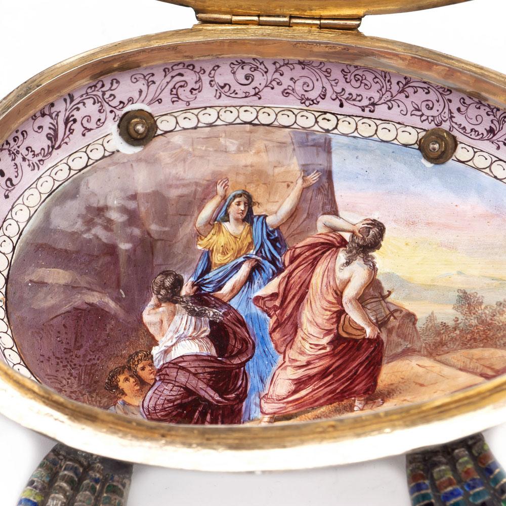 Gilt silver and polychrome enamelbox Vienna, 19th century 10x20x13 cm. - Image 4 of 5