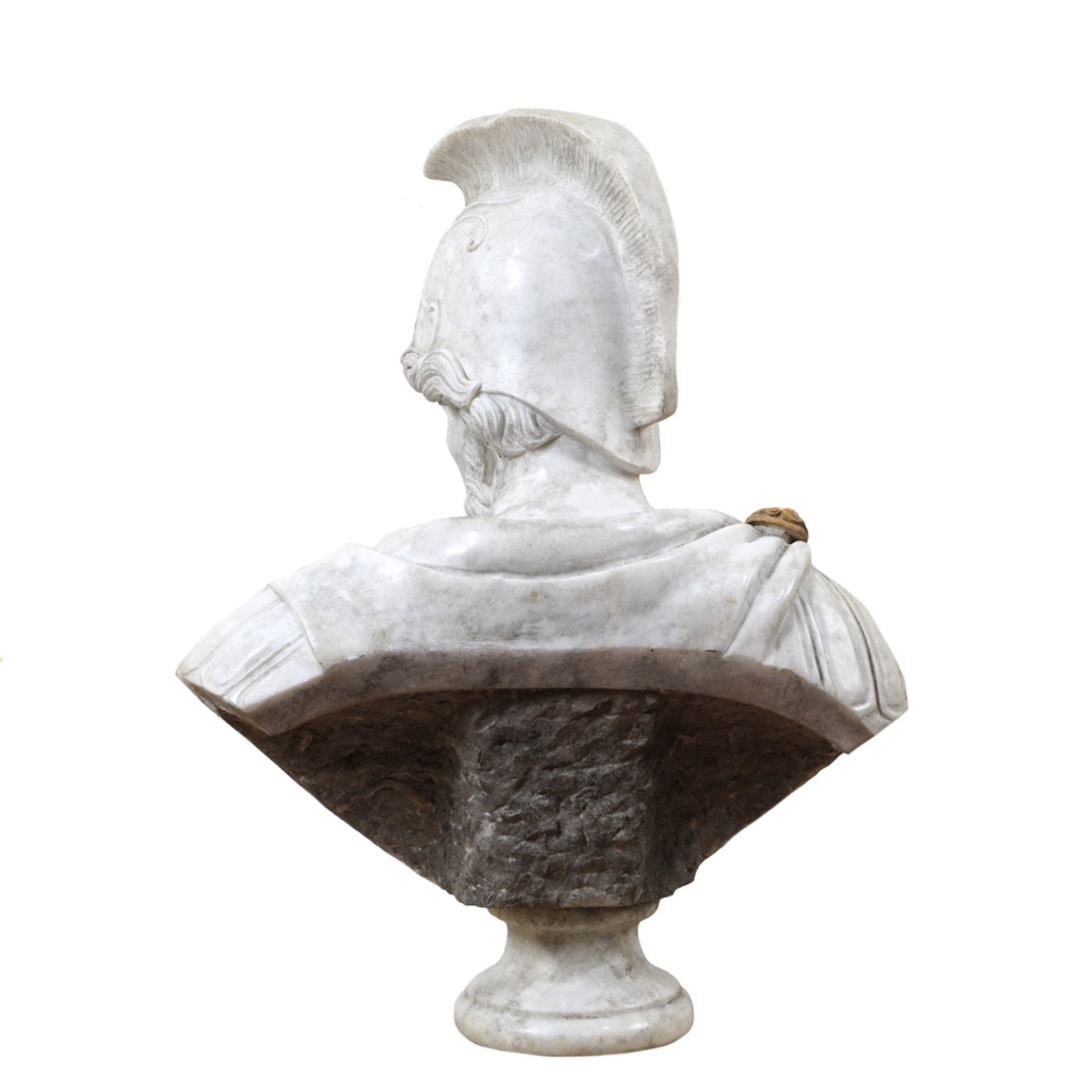 White, red and Yellow Siena marble bust 20th century 82x62x36 cm. - Image 3 of 3