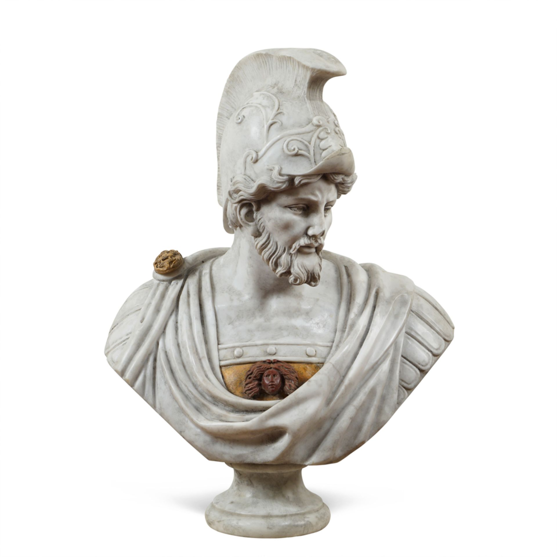 White, red and Yellow Siena marble bust 20th century 82x62x36 cm.