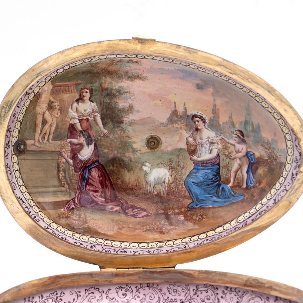 Gilt silver and polychrome enamelbox Vienna, 19th century 10x20x13 cm. - Image 3 of 5