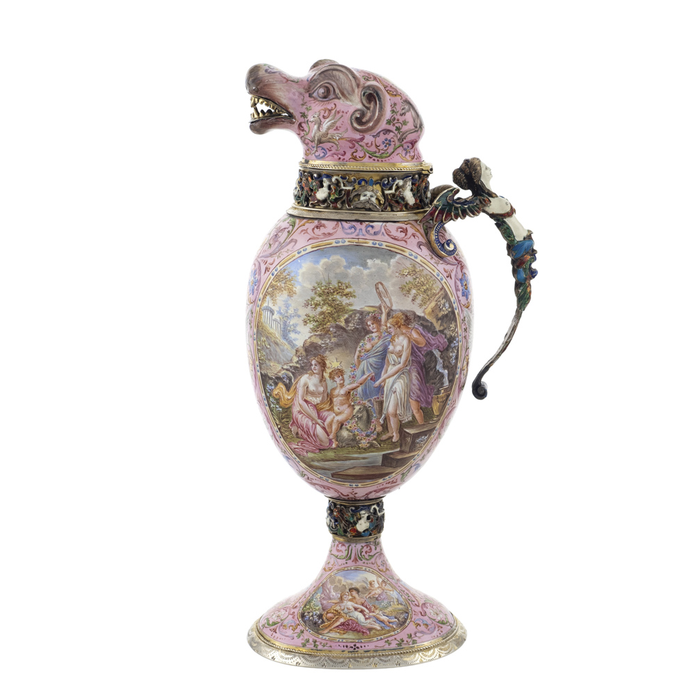 Silver vermeil and polychrome enamels jug Vienna, late 19th century